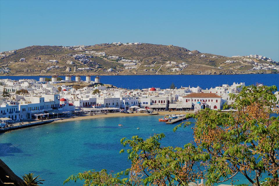 The main town of Mykonos (Chora), with the Windmills, the white houses and the beautiful old harbor.