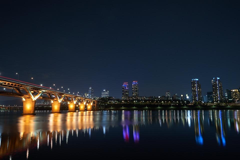 Seoul, Nacht Uitzicht, Han Rivier, Nacht, Korea, Licht