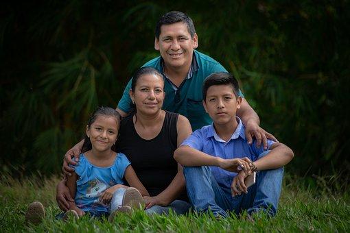 家族, 子供, 父, 人々