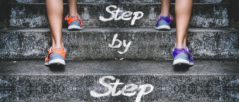 階段, 徐々に, フィート, 足, 成功, 徐々 に, キャリア, アップ