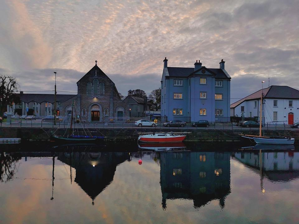 Galway, Ireland, Claddagh, Bay, Boats, Church, Houses