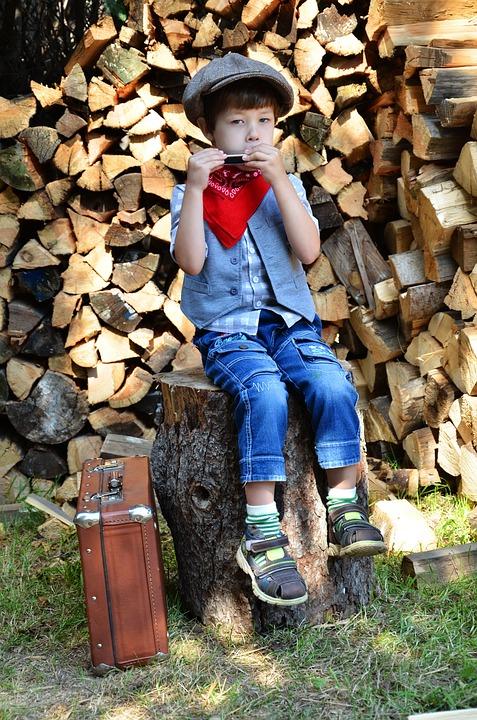 Harmonica, Boy, Kids, Musician, Western, Country House