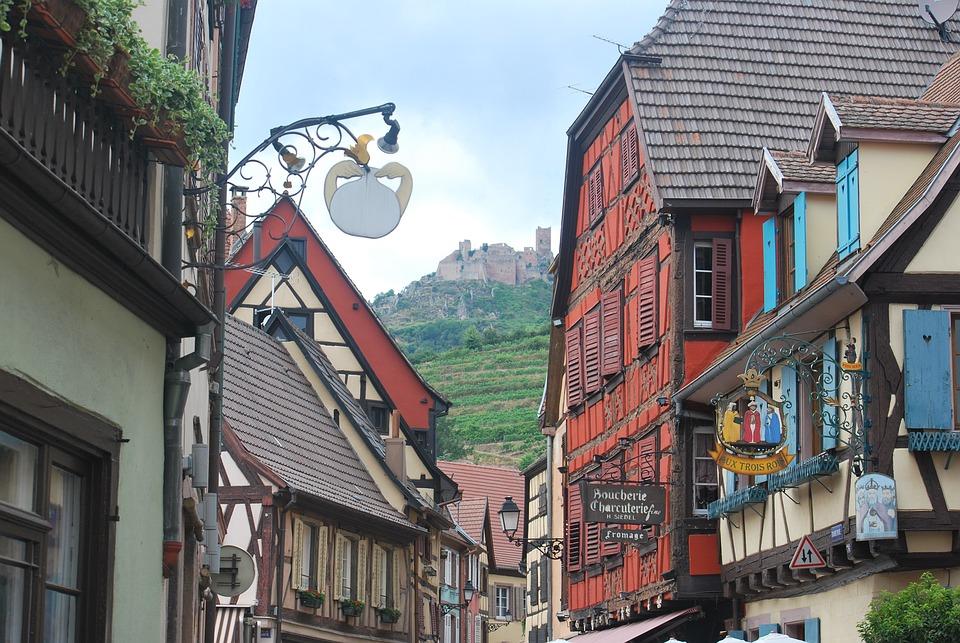 Alsace, Château, Ribeauvillé, Été, France, Grès, Tour