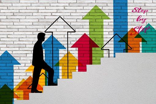 成功, 徐々 に, キャリア, 人, レベル, 階段, 徐々に, アップ, 上昇
