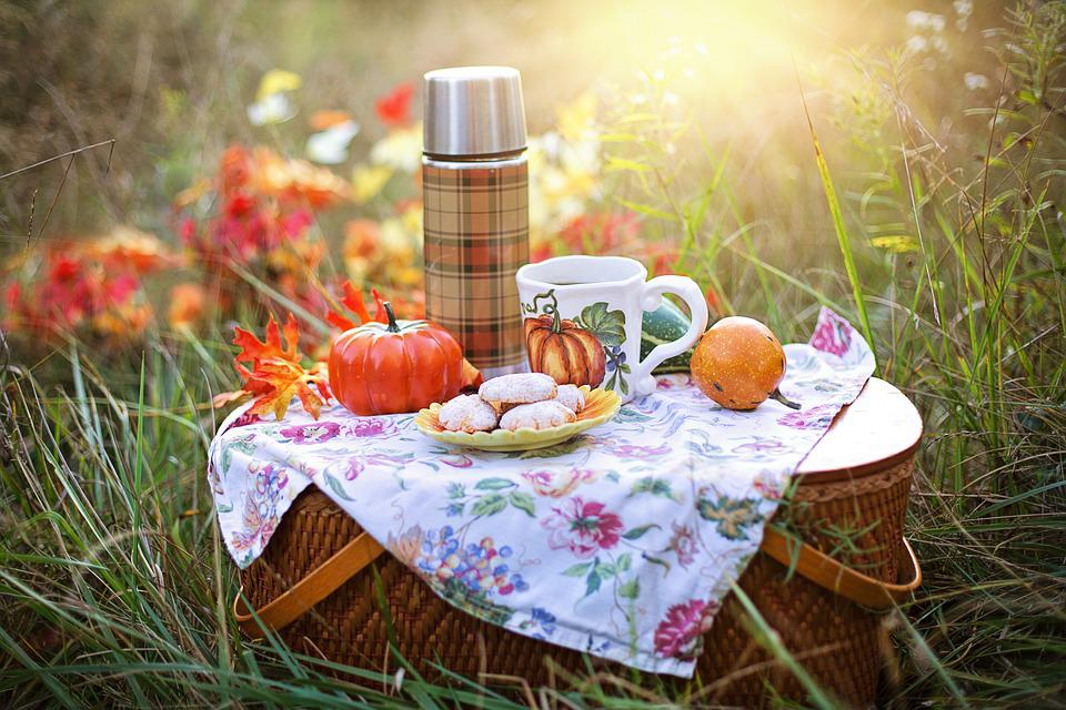Picnic basket sitting in tall grass topped with a floral napkin, faux pumpkins, a plaid thermos, a coffee cup with a pumpkin, and cookies dusted in powdered sugar