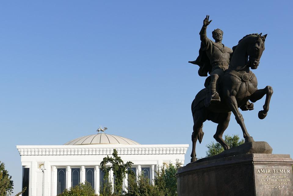 乌兹别克斯坦, 塔什干, 资本, 中亚, 丝绸之路, 纪念碑, 数字, 雕像, 马, 瑞特, 冠, 标尺