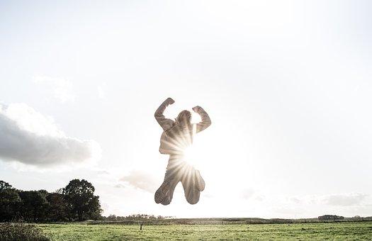 ジャンプ, 太陽, 子ども, 女の子, 夏, 幸せ, 飛躍, 空, 跳躍