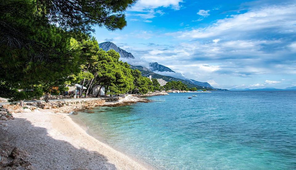 Sea, Croatia, Cove, Makarska, Blue, Sky, Beach, Europe