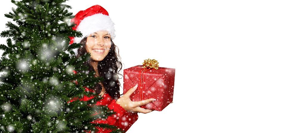 Girl, Christmas, Gift, Fir Tree, Snow, Snowfall, Winter