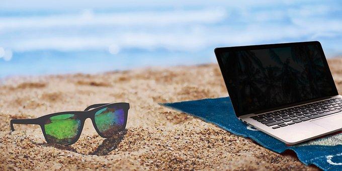 夏, ビーチ, ホーム, アセンブリ, ノート パソコン, レンズ, ブロガー