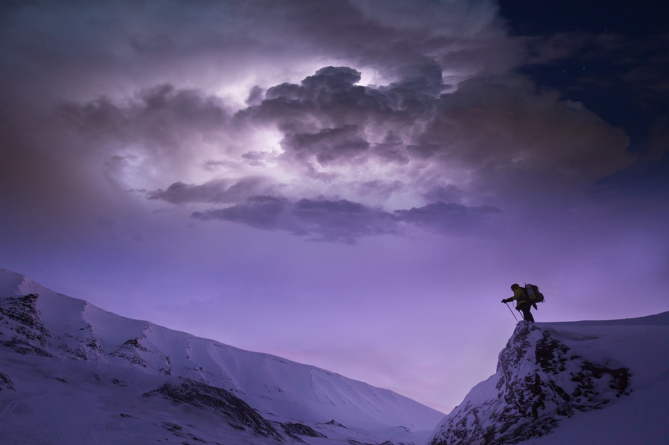 Landscape, Mountain, Sky, Clouds, Hiking, Summit, Snow