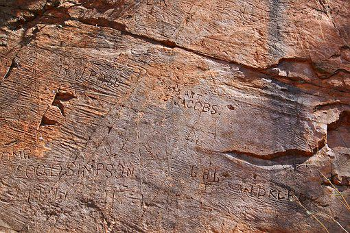 Rock, Engraving, Graffiti, Names, Random
