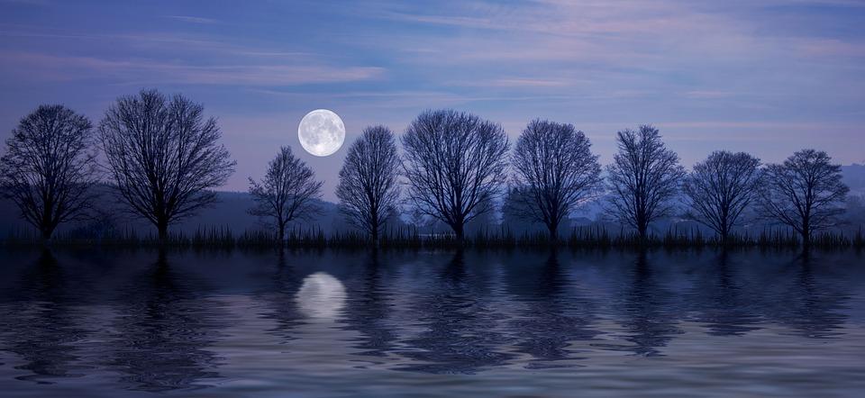 Luna Llena, Reflejo, Agua, Luna, Anocheciendo, Paisaje