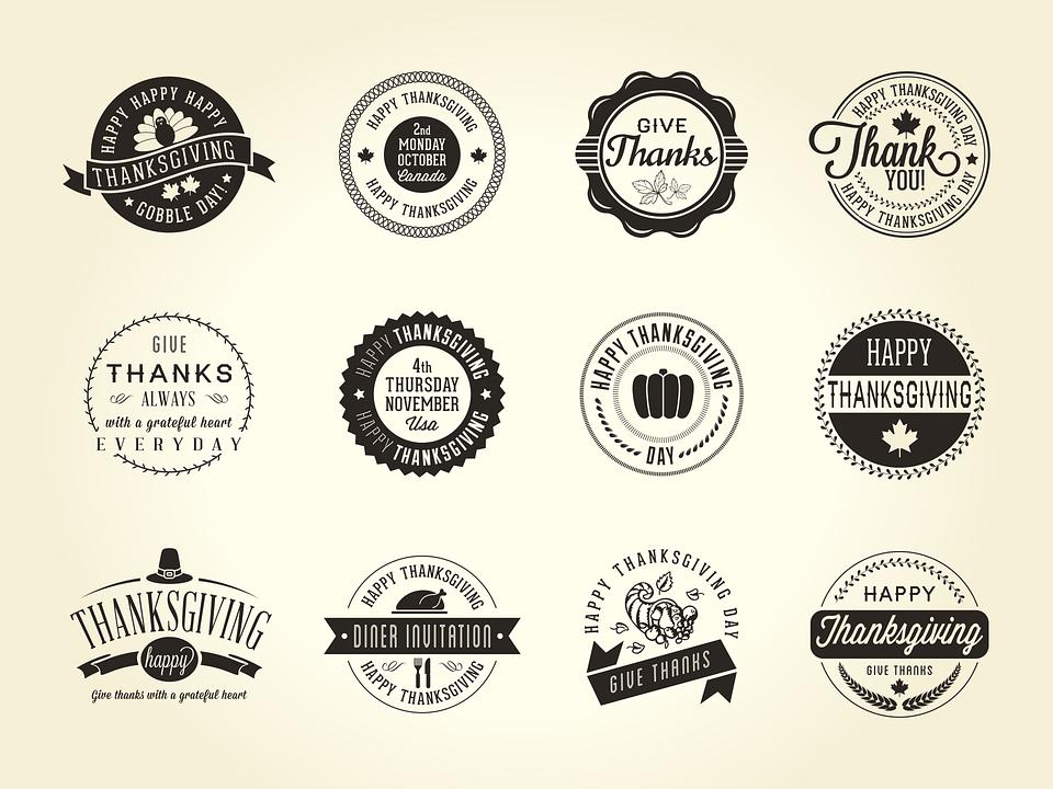 Thanksgiving, Badge, Fall, Text, Retro, Gobble, Icon