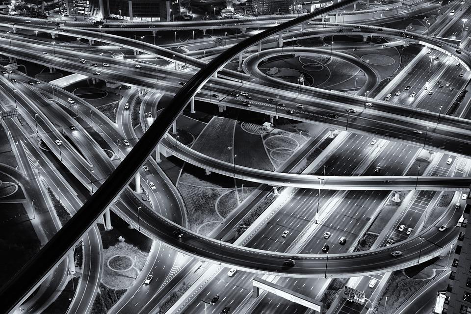 Strada, Notte, Monocromatico, Autostrada, Luce, Città