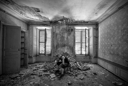 家, 放棄, 都市, 探査, 建物, 老朽化しました。, 台無しに, 遺跡