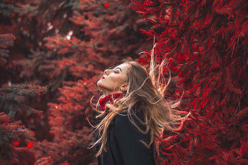 Portrait, Autumn, Red, Woman, Female