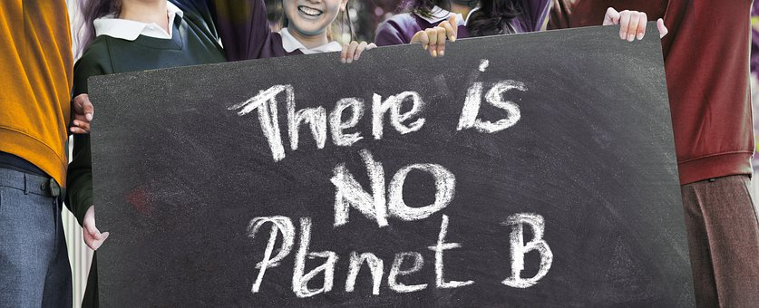Protest photo. A child is holding a sign that says 'There is no planet B'