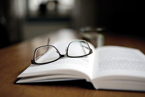 Livro, leitura, óculos, óculos de leitura