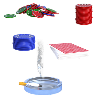Poker Items, Cards, Chips, Ashtray