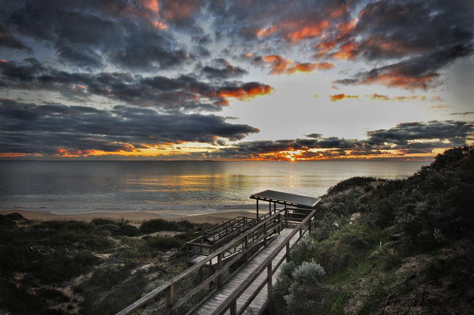 Sunset, Beach, Ocean, Water, Dusk, Nature, Clouds