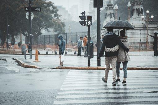 カップル, 雨, サンシェード, 傘, ロマンチック, 関係, 気候, 湿った