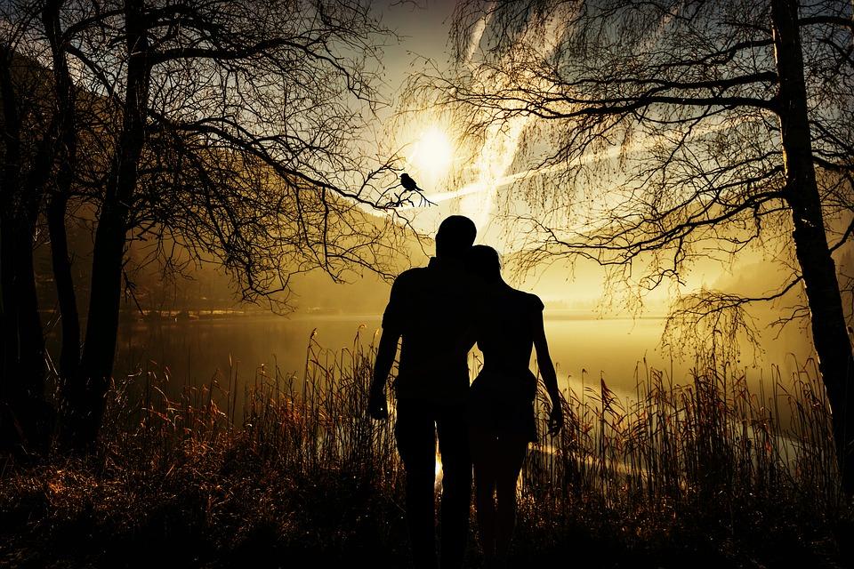 恋人, ペア, 愛, ロマンス, シルエット, サンセット, 友情, 人間, 関係, 一緒, 自然, 愛情
