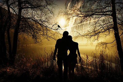 Lovers, Pair, Love, Romance, Silhouette