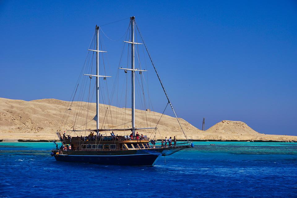 Sky, Sea, Ship, Sailing Vessel, Island, Sand, Beach