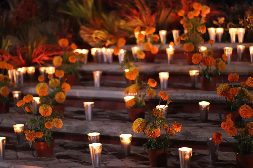 Altar, Day Of The Dead, Candles, Flowers, Chrysanthemum
