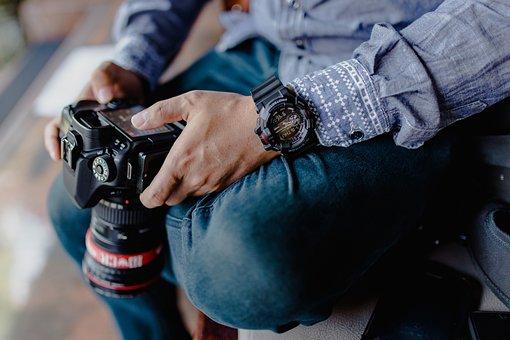 装備, カメラ, スタイル, 写真家, 男, バリ, 写真撮影, 装置, レンズ