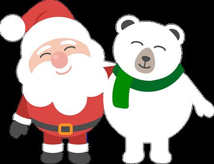 Santa, Polar Bear, Christmas, Cartoon