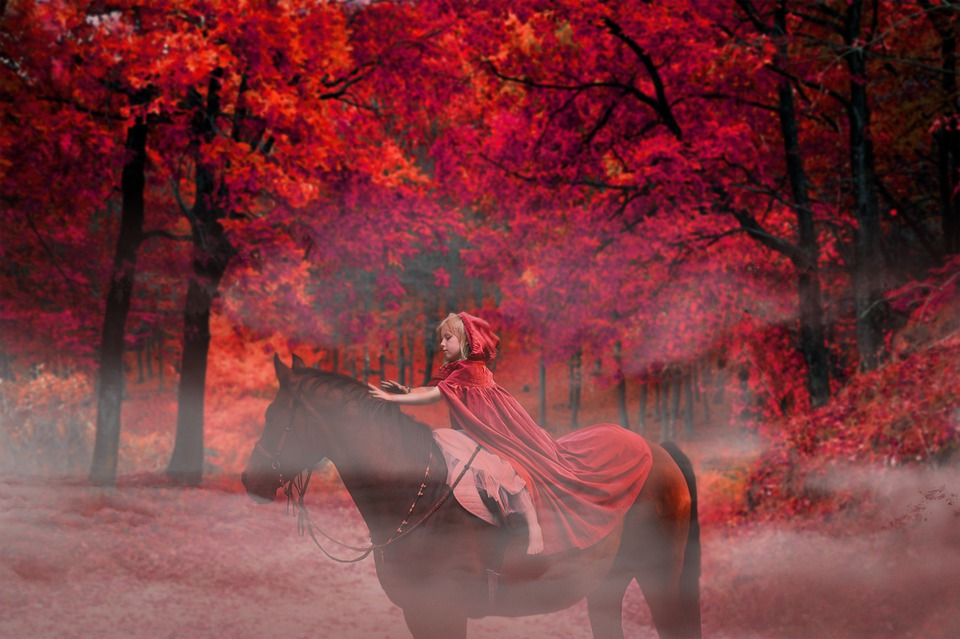 Fantasy, Forest, Horse, Girl, Red, Surreal, Mystic