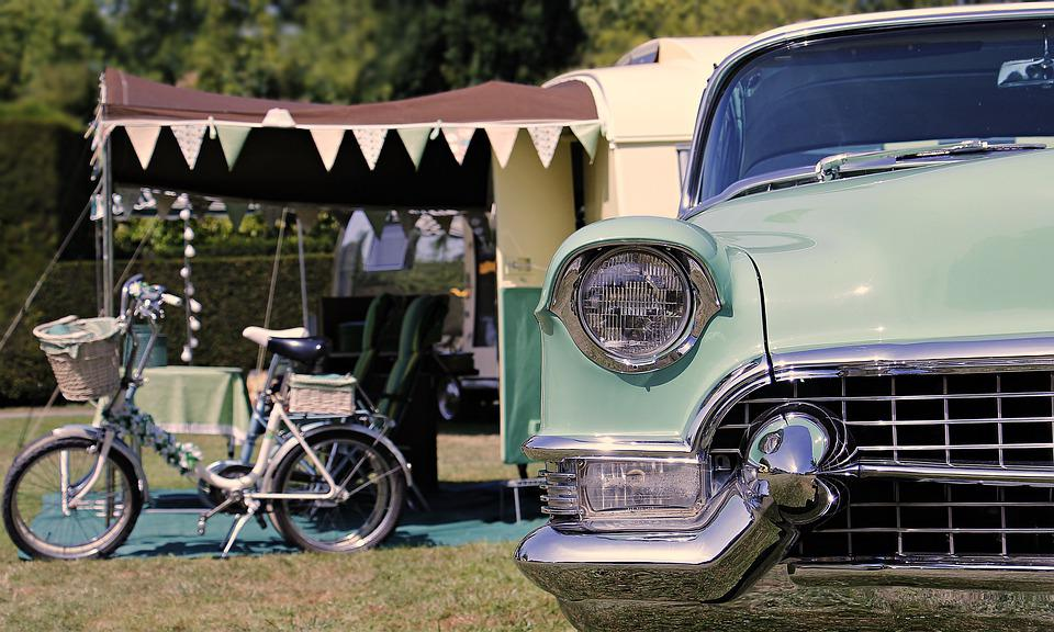 Camping, Cadillac, 1960, Vacaciones, Retro, Vintage