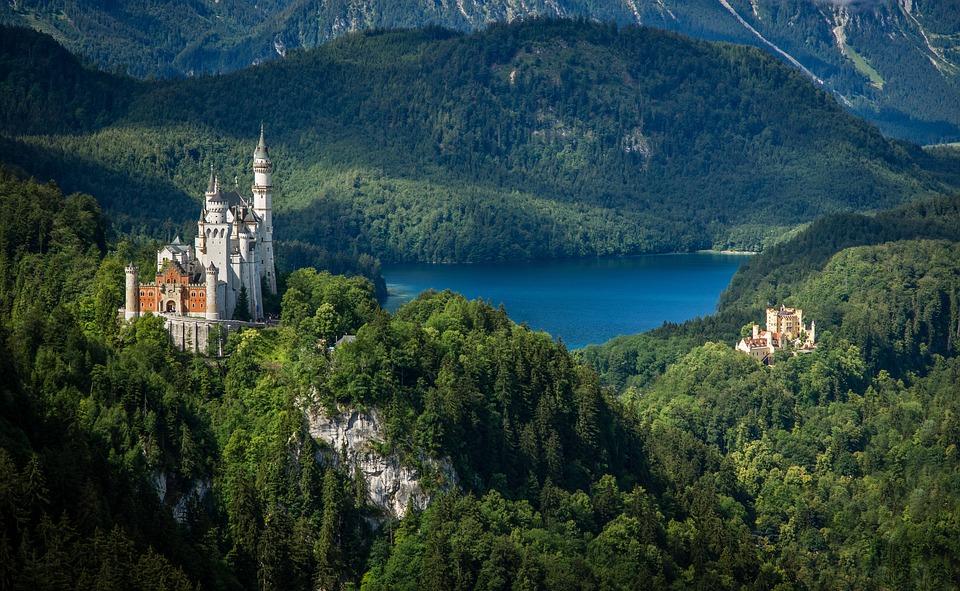 Castle, Fa, Fekvő, Kristin, Bajor, Allgäu, Németország