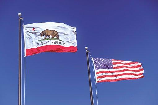 フラグ, カリフォルニア州, 共和国カリフォルニア, アメリカ国旗