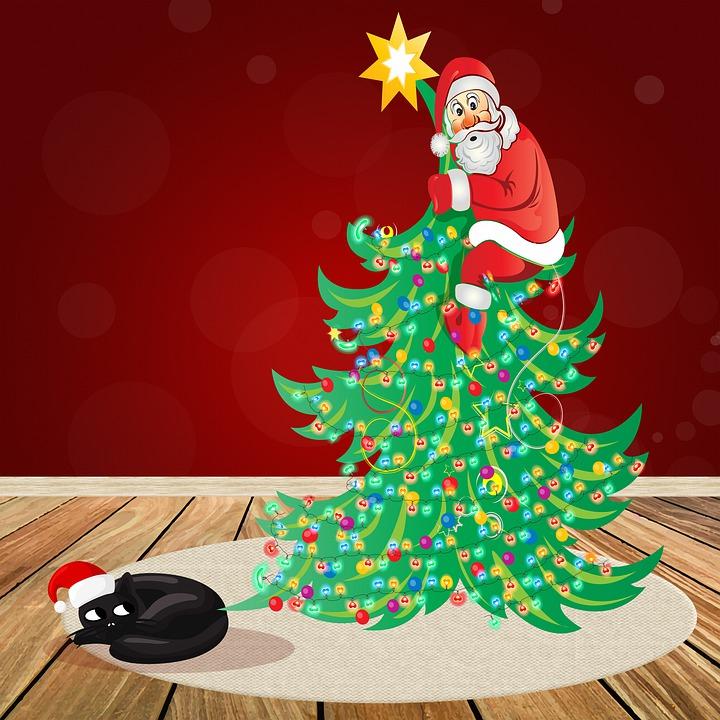 Santa Hængende På Juletræet, Bange Santa Claus, Juletræ