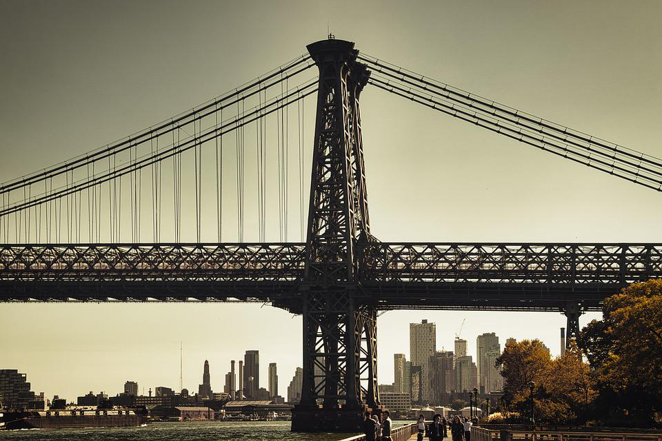 Bridge, City, New York, Usa, America, Manhattan