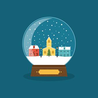 Ball, Snow, Snow Globe, Card, Christmas