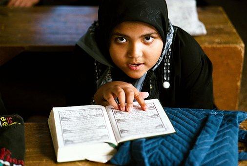 Gadis, Sekolah, Quran, Islam, Membaca