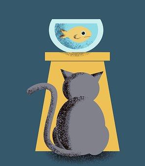 猫, 魚, ヴィンテージ, 好奇心が強い, プレデター, 腕時計, 肖像画