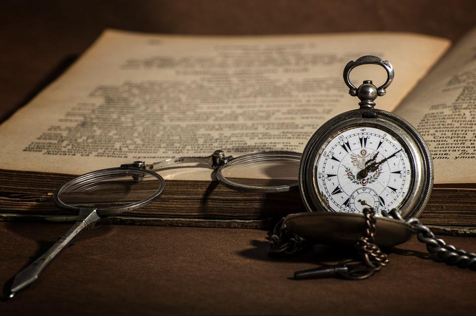 Uhr, Retro, Buch, Alte, Bibliothek, Literatur, Antik
