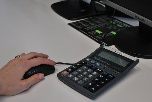 Calculadora, mouse, mão, clique, escritório