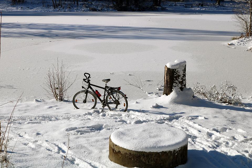 Winter, Schnee, Fahrrad, See, Eis, Kalt, Landschaft