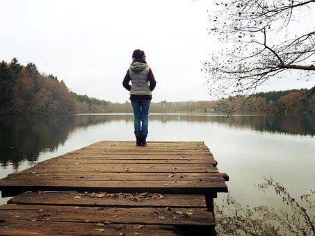 Web, Lake, Forest, Nature, Woman, Stand
