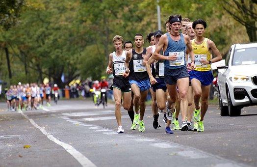 People taking a marathon