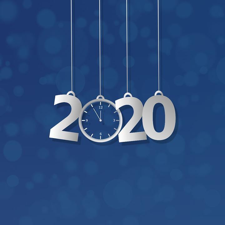 Fond, 2020, Noël, Bokeh, Bleu, Argent, Numéros, Horloge