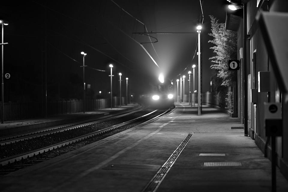 Train, Station, Night, White Black, Lights, Transport
