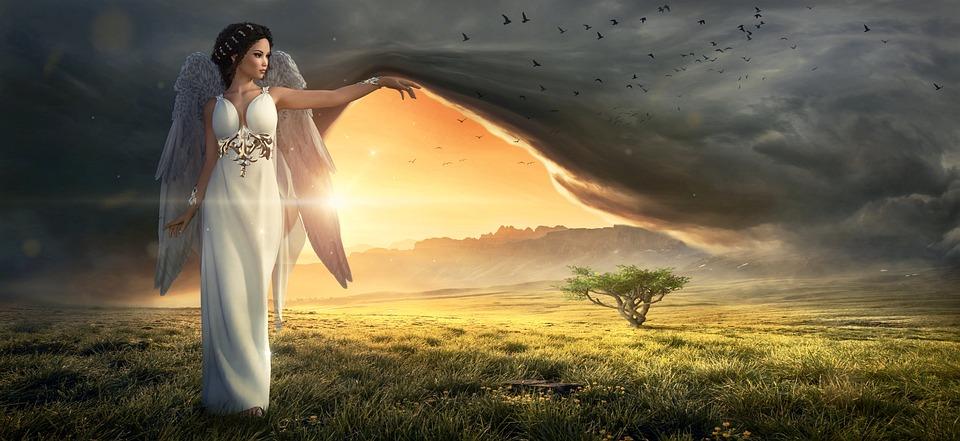 Фантазия, Ангел, Небо, Облака, Пейзаж, Света
