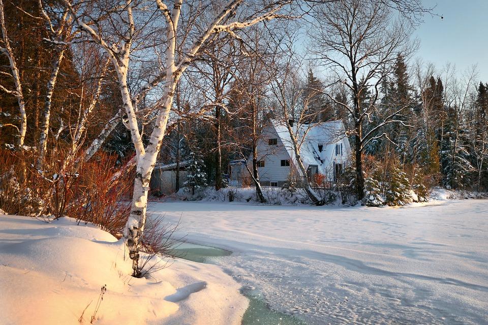 Paysage, Chalet, Hiver, Maison, Rural, Nature, Neige
